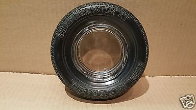 Vintage SEASONMASTER Tire Advertising Ashtray - Glass Insert w/Rubber Tire #20
