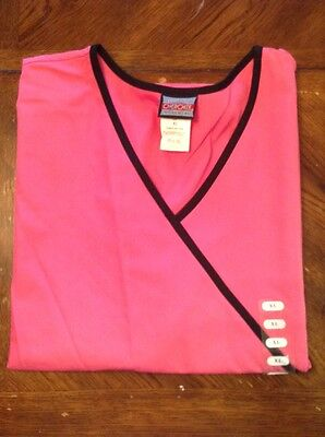 Cherokee scrub top, hot pink/black, sz x large, NWT