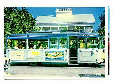 Key West Florida Postcard Old Town Trolley Vintage Captain John Lowe Home
