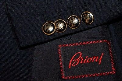 BRIONI Italy Wool & Cashmere Blazer Men's 44R Navy Gold Buttons Double Breasted