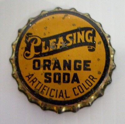 Vintage Unused PLEASING ORANGE SODA Cincinnati, Ohio Cork Lined Bottle Cap