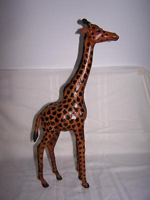"Giraffe Statue Vintage Wrapped Leather 20"" Tall Euc"