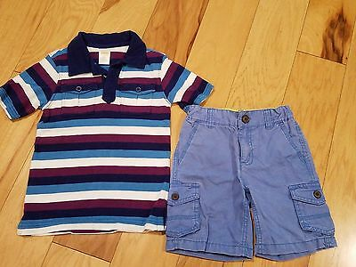Boys Gymboree Summer Set Size 4 - Striped Polo Shirt and Shorts