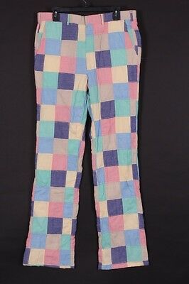 Vtg 70S Izod Lacoste Patchwork Cotton Golf Pants Slacks Mens 35-35