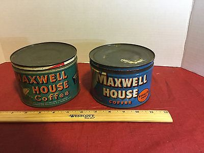 2  Vintage Maxwell House Coffee Drip Grind 1 Pound Tins