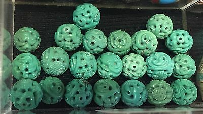 Antique Turquoise 20 Round Hand Carved Shou Beads Estate Lot Chinese