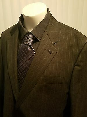 Lauren Ralph Lauren 46L Long Men's 2 Pc Suit Pinstripe Pure Wool 2 Button Gray