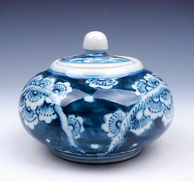 Blue&White Porcelain Flower Blossoms Painted Oval Brush Washer Pot #12291602