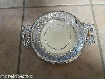 Antique Rockford Quadruple Silver Plate Ornate Tray With Handle