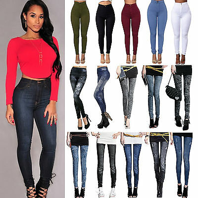 Womens High Waist Leggings Skinny Jeggings Pencil Trousers Stretchy Jeans Pants