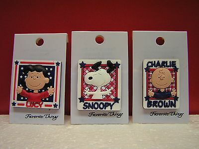 Peanuts Snoopy Charlie Brown Lucy Red White & Blue PVC Pins Set of 3 MOC