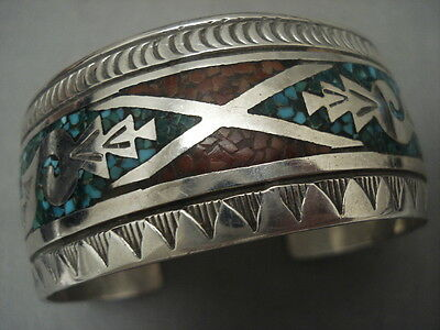 Wider Vintage Navajo Turquoise Coral Silver Inlay Bracelet Old