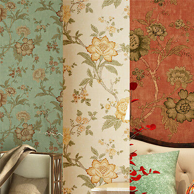10M Vintage Floral Wall&paper Roll Living Room Wall Non-woven Antique Paper