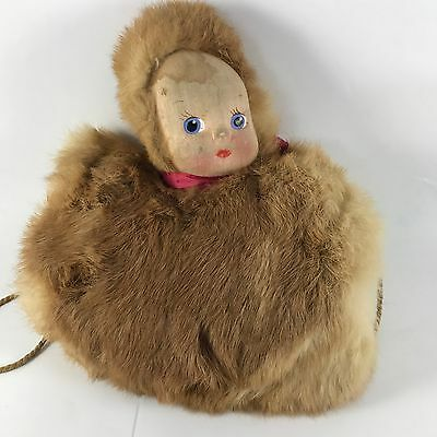 """Vtg Doll Child/ Girl Hand Warmer Muff 9"""" with Real Rabbit Fur and Carrying Strap"""