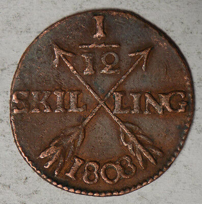 Sweden 1808 1/12 Silling Coin
