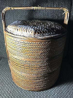 "Vtg Large 17"" Chinese Woven Bamboo Wicker 3 Layer Wedding Basket Sewing Decor"