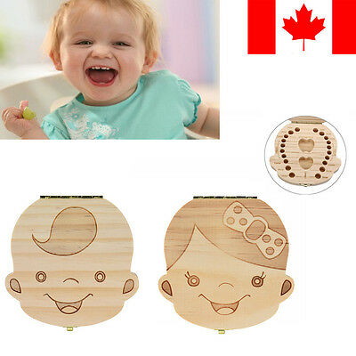 Tooth Box Organizer for Baby Milk Teeth Save Wood Storage Box kids Boy&Girl CA