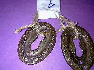 a pair of Edwardian stamped brass escutcheons,keyhole, key hole, antique (A)