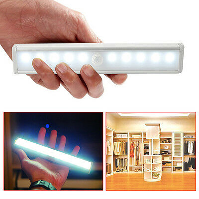 10 - LED Wireless Motion Sensing Closet Cabinet LED Night Light Stairs Light