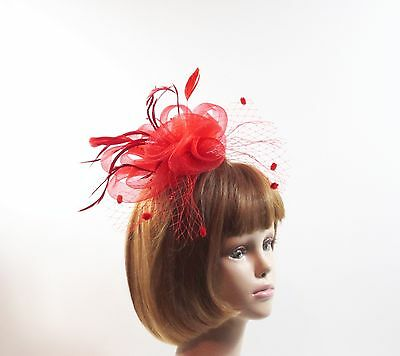 Red Feather Double Loop Fascinator Comb Pearls Netting Red Hat Ladies Of Society