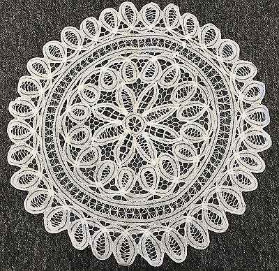 "2 Pcs 16"" White Cotton Handmade Battenburg Lace Crochet Doily Doilies Wedding"