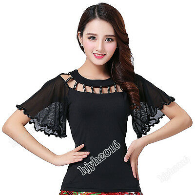 Ballroom Flamenco Latin Salsa Dance Blouse Tops Short Sleeve 5 Colors L-4XL #18