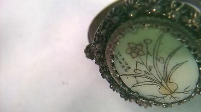 China Antique silver bone carved Ring 5-8""