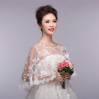 Womens Embroidery Lace Shawl Rhinestone Wedding Bridal Cape Stoles Shrug Wrap