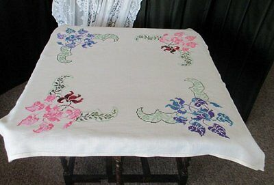Vintage Tablecloth-Hand Embroidered-Blue & Pink Flowers