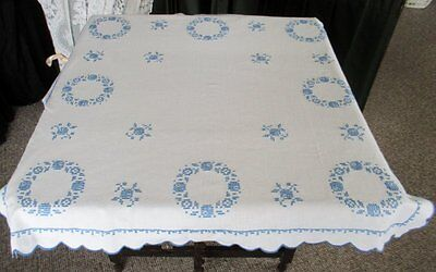 VINTAGE TABLECLOTH HAND EMBROIDERED with BLUE FLOWERS