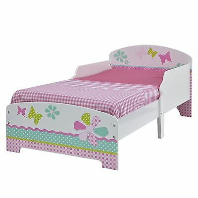 Girls Pretty & Pink Patchwork Toddler Bed New
