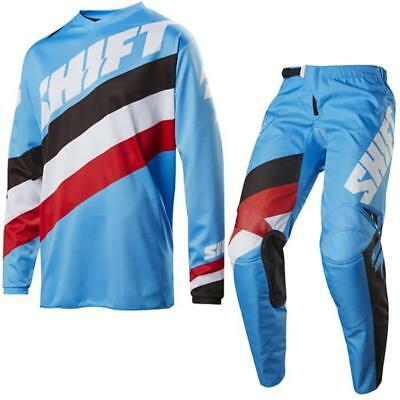 SHIFT MX Motocross MTB Kinder Jersey Hose SET COMBO WHIT3 TARMAC Blau MX Shirt
