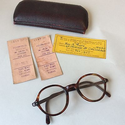 vintage 1940's tortoiseshell round glasses with original box and receipts