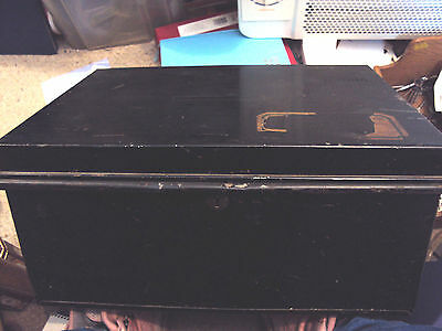 Large Vintage Black Metal Deed Box Storage Tin Chest