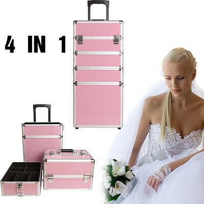 4 in 1 Pink Makeup Vanity Case Cosmetics Nail Hairdressing Box Beauty Trolley