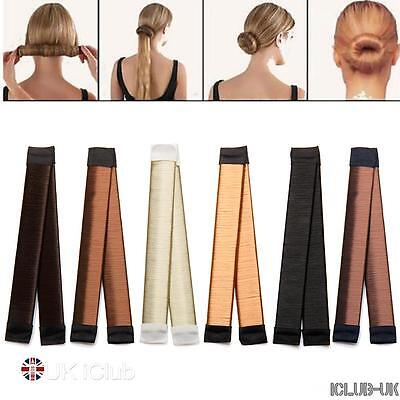 1/2/5pc Womens Foam Hair Bun Updo Wrap Snap Fold DIY Hair Accessory Styling Tool