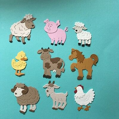 Farm Animals X 9 Die Cuts Duck Sheep Cow Embellishments Paper Fully Assembled