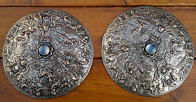 Antique Neoclassical Silverplate Plaques -Moonstone Cabouchon-Honor-Immortality-