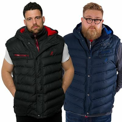 Kangol Mens Plus Size Gilet Body Warmer Sleeveless Puffa Jacket Hooded Zip Coat