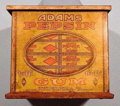 Rare 1917 Adams Pepsin Chewing Gum Store Tin-HD Beach Co.-Nice Condition