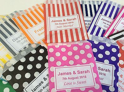 Personalised Candy Striped Polka Dot Sweet Candy Wedding Favour Birthday Bags