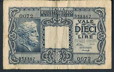 ITALY BANKNOTE 10 P32a 1944 VF