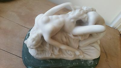 Stunning Quality Erotic White Marble Statue Lesbian Lovers On  Marble Base