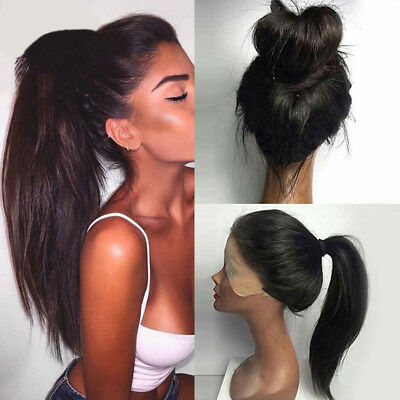 Fashion Women Black Long Ponytails Straight Lace Front Synthetic Wig Party Wigs