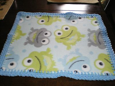 Baby Boy Blanket Plush Security Lovey Frogs  W/blue  Crochet Handmade
