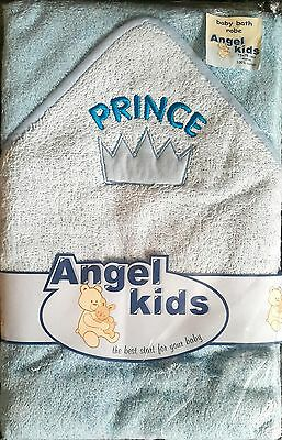 New Baby Boys Girls 100% Cotton Blue Prince Hooded Bath Robe Wrap Babies Towel