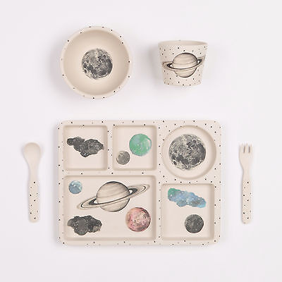 Love MAE - 5pc Bamboo Dinner Set - Sectioned Plate/Cup/Bowl/Cutlery-Moon & Stars