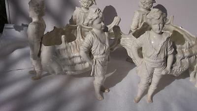 Pair 19th Century Victorian Ceramic Bisque Centrepiece - Shell Beach Boys