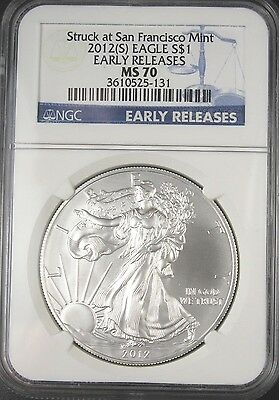 2012 (S) American Silver Eagle Ngc Ms70 Struck At San Francisco Early Releases