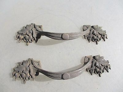 Antique Brass Drawer Handles Pull Cupboard Belgium Hardware Gilt Leaf Fruit Old